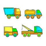 Children`s toys, trucks. Vector - Illustration - Drawing Royalty Free Stock Photos