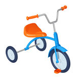 Children`s tricycle with blue frame, orange seat, pedals and steering wheel Royalty Free Stock Photo