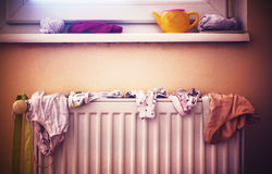 Children`s Underwear on Radiator Royalty Free Stock Image