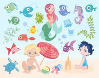 Children`s vacation at sea. Set of vector illustrations. Boy and girl playing on the beach. Mermaid, fish and other sea. Beach kids vacation at sea. Set of Royalty Free Stock Image