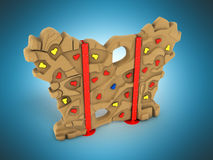 Children`s wall for climbers 3d render on a blue background Stock Photos
