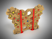Children`s wall for climbers 3d render on a gray background Royalty Free Stock Image