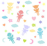 Children's wallpaper with angels. Children's wallpaper with the angels, moons, stars, clouds, hearts Stock Photos