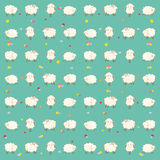 Children's wallpaper. Baby green wallpaper with sheep Stock Images