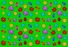 Children`s wallpaper with flowers and ladybirds Royalty Free Stock Image