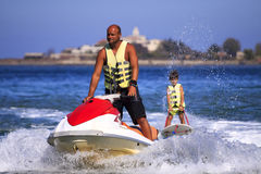 Children's water skiing. Stock Photos