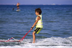 Children's water skiing. Royalty Free Stock Photography