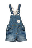 Children's wear - jean overalls isolated over white background Stock Image