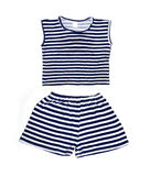 Children's wear - striped shirt and shorts Royalty Free Stock Photos