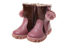 Children's winter boots Royalty Free Stock Photos