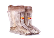 Children\'s winter boots. Made of reindeer fur Royalty Free Stock Photography