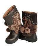 Children's winter boots, isolated Royalty Free Stock Photography