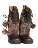Children's winter boots, isolated Stock Photography