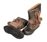 Children's winter boots, isolated Royalty Free Stock Image