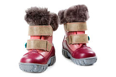 Children's winter boots isolated on white Royalty Free Stock Photography