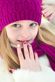 Children`s winter mixed colors manicure . Stock Image