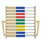Children's wooden abacus. Colored against white background Stock Image