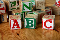 Children's Wooden Blocks. Many children's blocks with ABC in front vector illustration