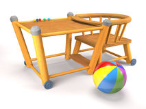 Children's wooden folding chair and ball (3d illustration). Royalty Free Stock Images