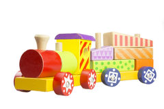 Children's wooden locomotive Royalty Free Stock Images