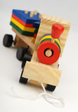 Children's wooden steam locomotive a toy Stock Photography