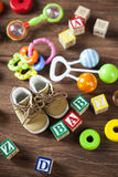 Children`s World toy on a wooden background. Stock Image