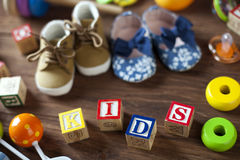 Children`s World toy on a wooden background. Stock Images