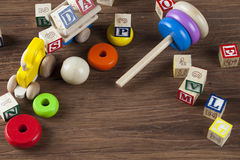 Children`s World toy on a wooden background. Stock Photography
