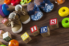 Children`s World toy on a wooden background. Royalty Free Stock Photography