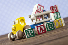 Children`s World toy on a wooden background. Royalty Free Stock Photos