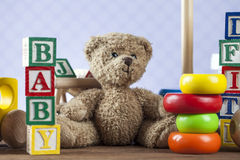 Children`s World toy on a wooden background. Royalty Free Stock Image