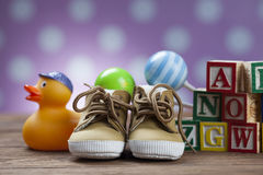 Children`s World toy on a wooden background. Royalty Free Stock Images