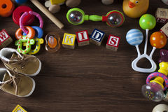 Children`s World toy on a wooden background. Royalty Free Stock Photo