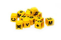 Children's yellow cubes with letters. Children's educational yellow cubes with letters Royalty Free Stock Photography