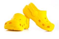 Children's yellow rubber sandals Stock Photo