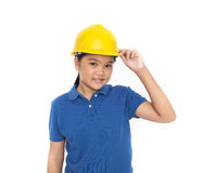 Children with safety helmet Stock Image