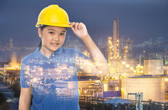 Children with safety helmet Stock Photos