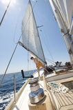 Children on a sail boat royalty free stock photo