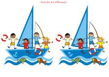Children and sailboat, find ten differences. Children and sailboat. Game for the children. Find ten differences Stock Photography