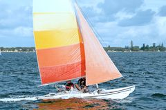 Children Sailing 6. Children sailing activities at Belmont 16ft sailing Club . Lake Macquarie, New South Wales, Australia.nnnnnnSTOCK KW Children Sailingnnsail Stock Photo