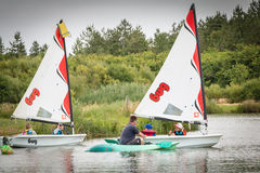 Children sailing boat. Bretignolles sur Mer, France - June 28, 2016 : Children sailing on boats on a lake Stock Photo