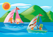 Children sailing boats in the sea. Illustration Stock Images