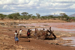 Children from the Samburu tribe gather at Holz. 12. October 2012 royalty free stock photos