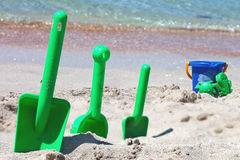 Children sand toys on the beach Stock Photo