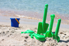 Children sand toys on the beach Stock Photography
