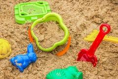 Children sandbox with toys, playground Royalty Free Stock Photography