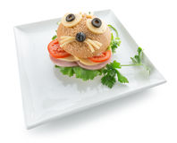 Children sandwich with funny animal face isolated on the white b. Ackground stock photography