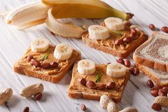 Children sandwiches with peanut butter and banana Stock Images