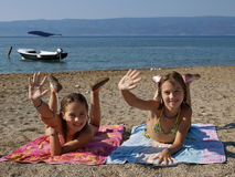 Children on sandy beach 1 Stock Image