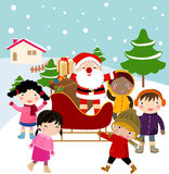 Children and santa Stock Images